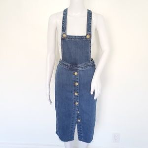 H&M Denim Button Front Overall Skirt Size Small